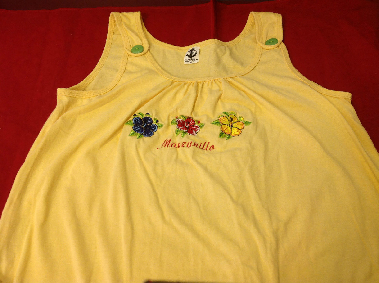 Cute Manzanillo Imarea Girls Yellow Sleeveless Dress with 3 flowers on front