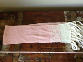 Cute Pink Scarf with White Ends Soft Double Layered 51 Inches by 7 Inches