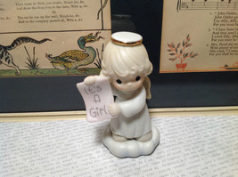 Cute Porcelain Angel Figurine Holding Sign Its a Girl Growing in Grace - $39.99