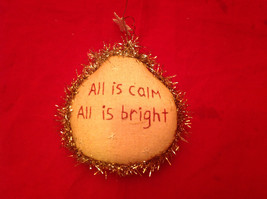 Cute Little Christmas Ornament Pillow Stitched All is Calm All is Bright - $6.92