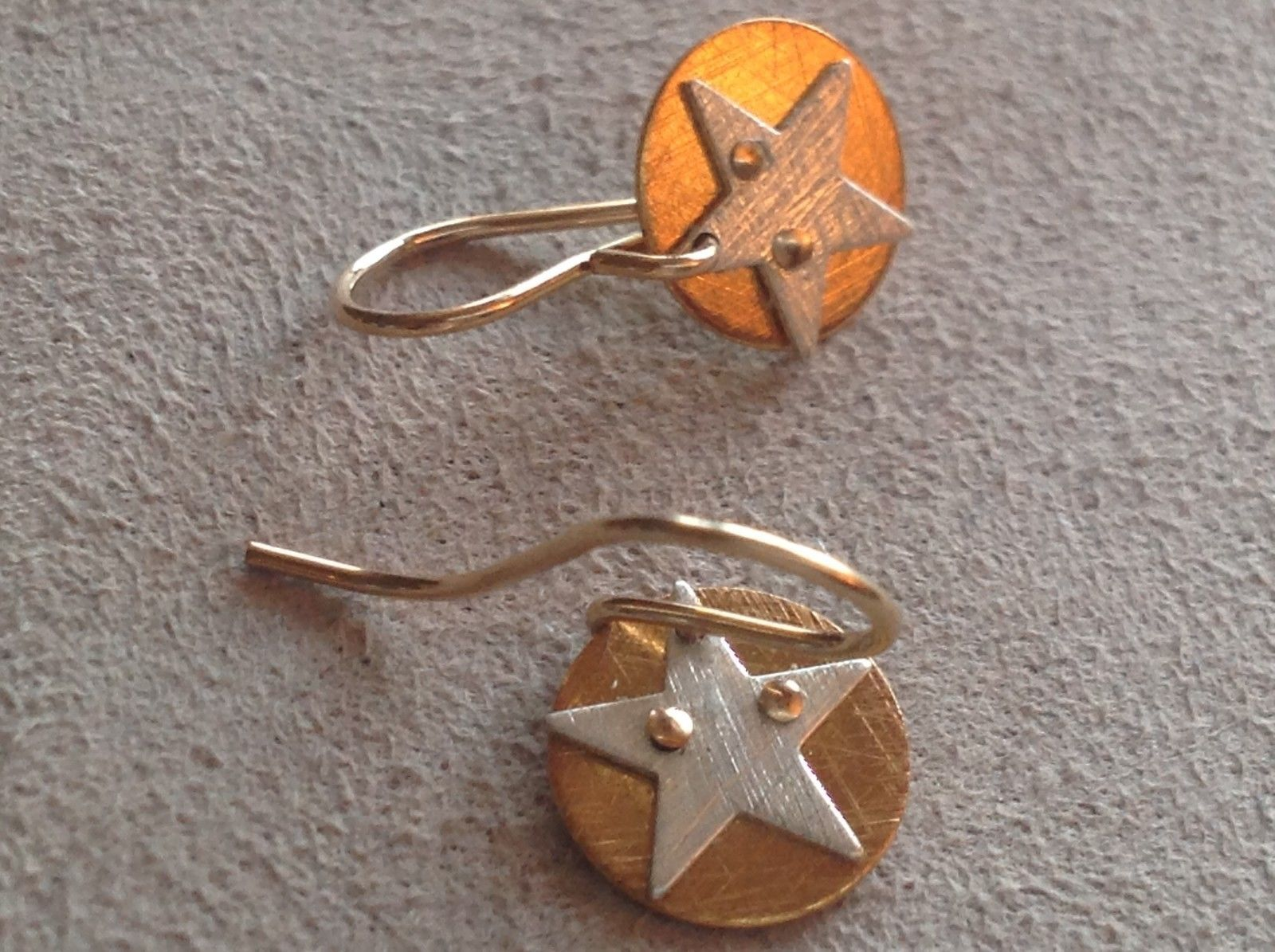 Cute Riveted Baby Disk Earrings with Star Silver on Gold Handmade Zina Kao
