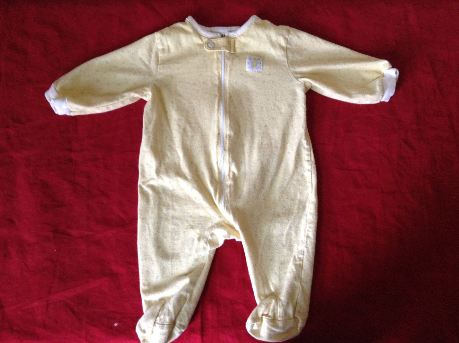 Cute Yellow with Polka Dots Zip Up One piece  by Circo Size 0 to 3 Months