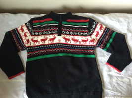 Cute Winter Sweater by Plaid Moose Striped with Moose Reindeer Size Small 8 image 1