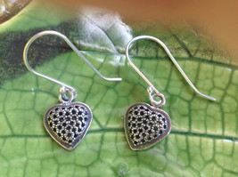 Cute Sweet Filigree Heart Sterling Silver Earrings Valentines Gift
