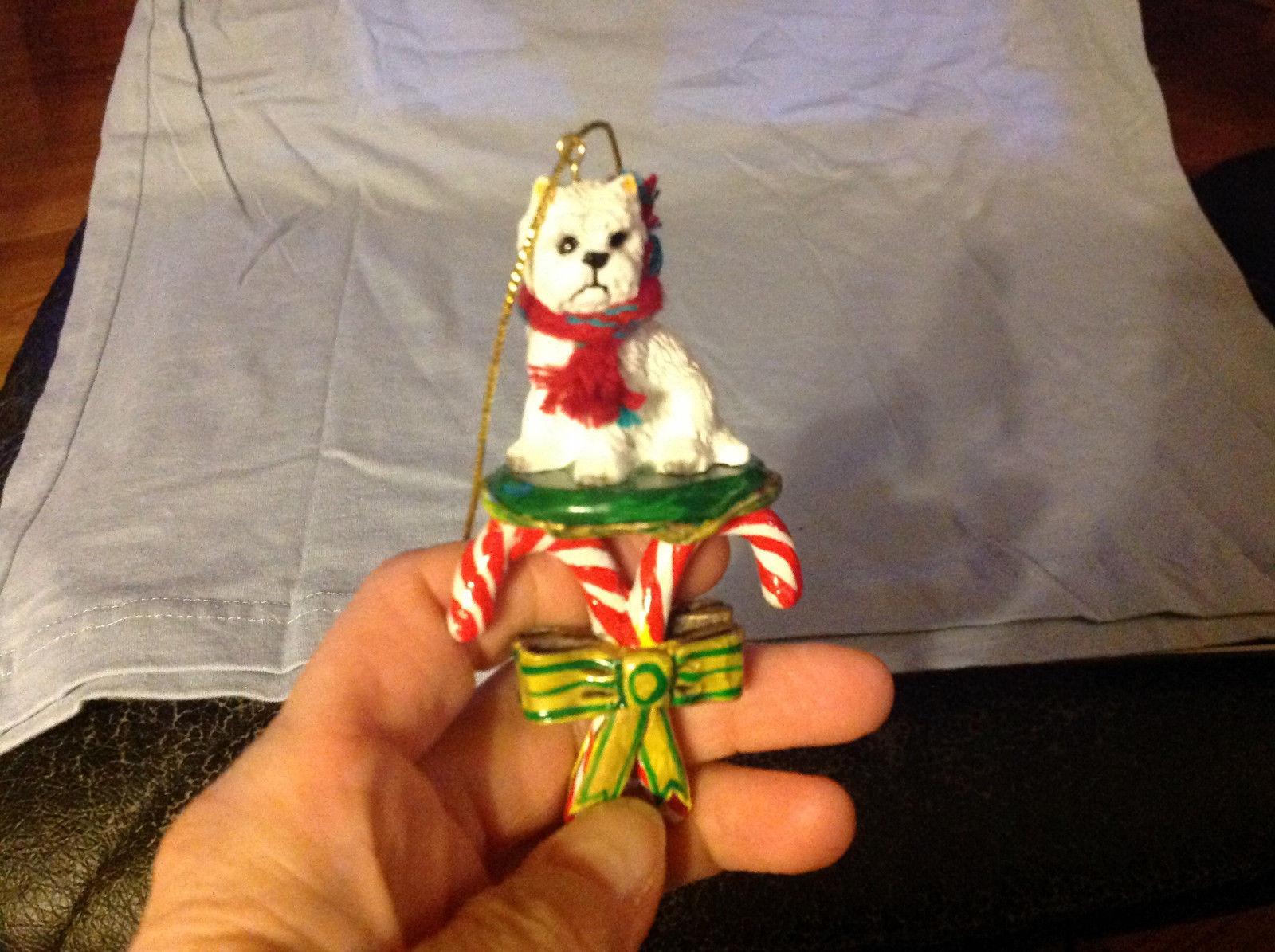 Cute Westie Westminster White  Terrier on Candy Canes Ornament