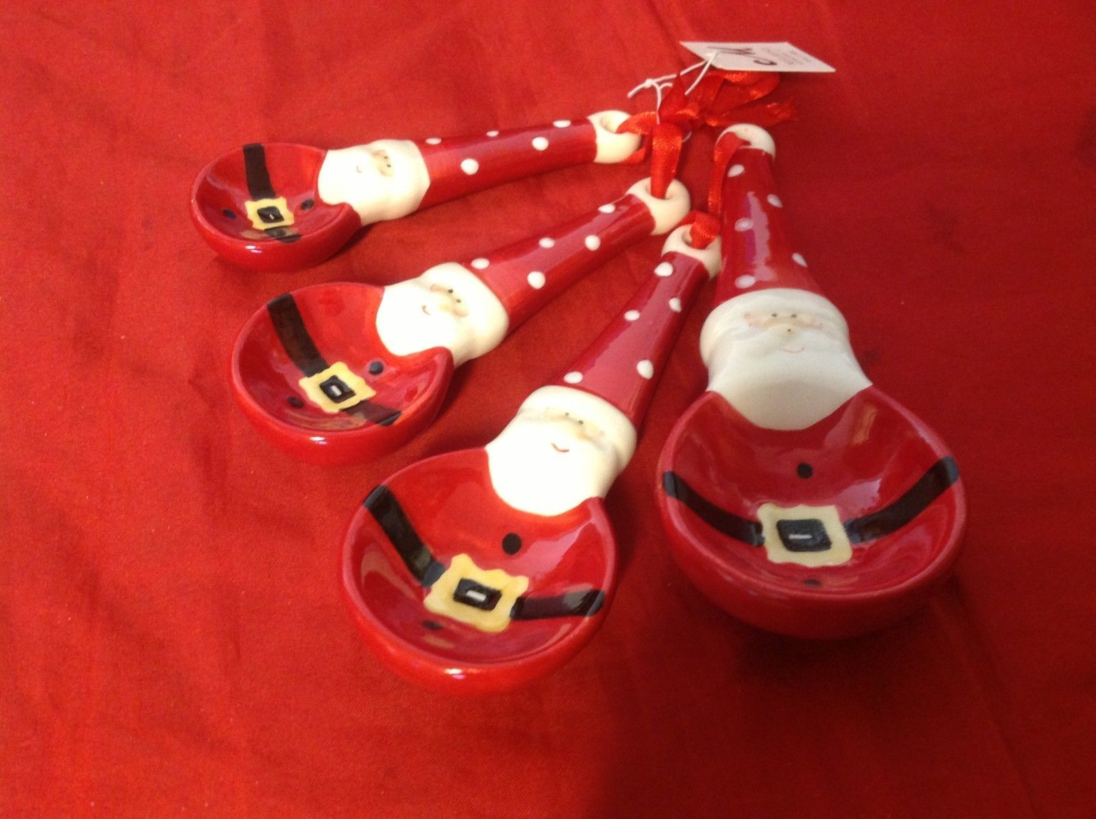 Cute ceramic decorative Santa measuring spoon set
