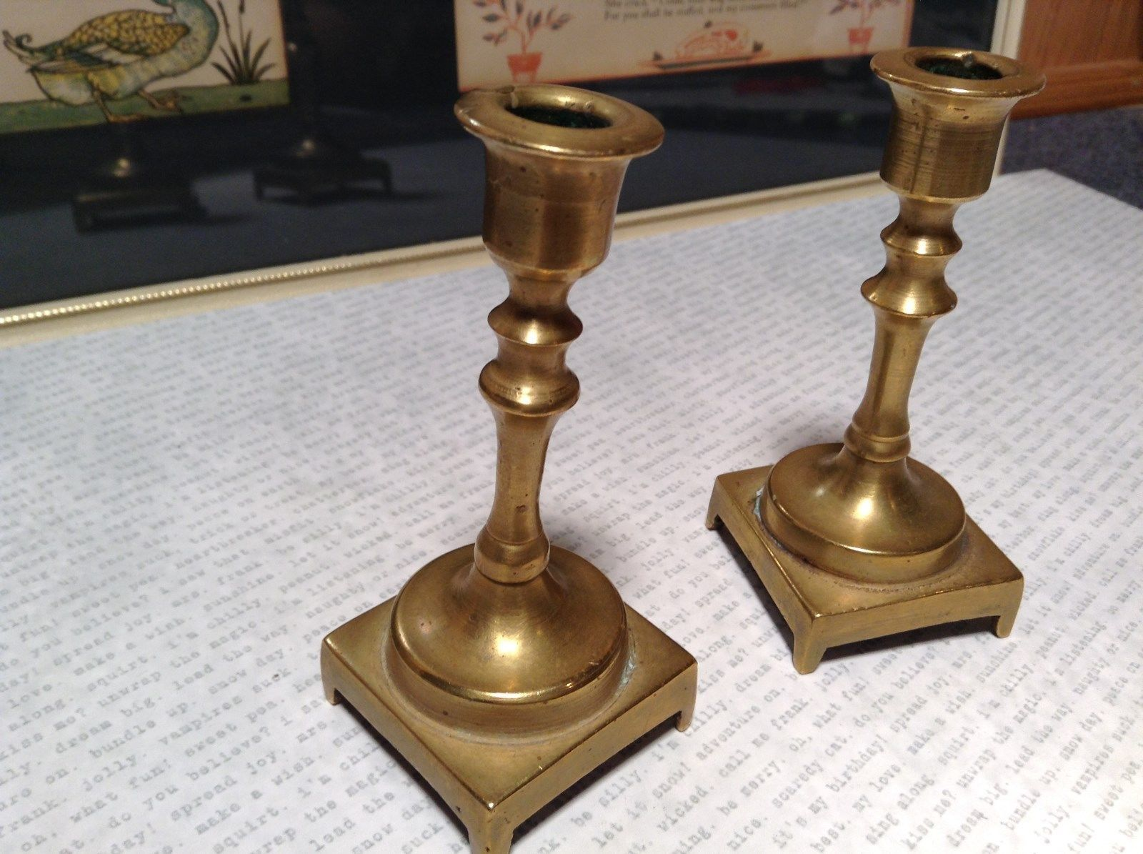 Cute Two Piece Set Vintage Miniature Brass Candlestick Holders