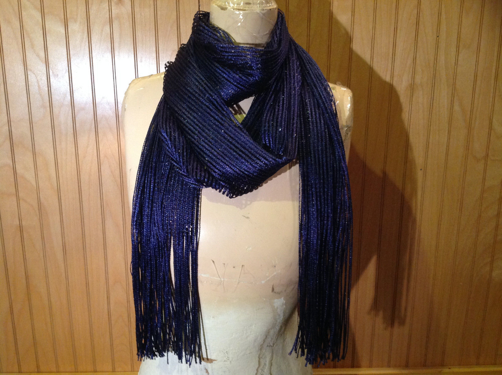 Dark Blue Metallic Shine Tasseled Fashion Scarf Sheer Light Weight Material
