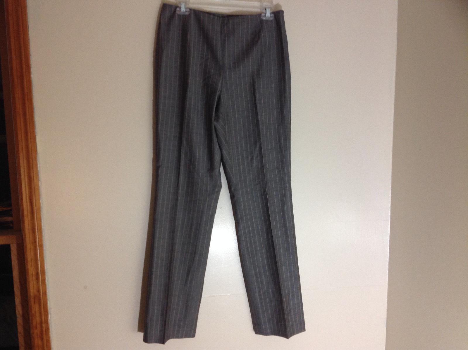 Dana Buchman Gray Pinstriped Dress Pants Zipper Closure on Left Side Size 8