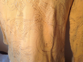 Chicos Gold Yellow V Neck Top Three Quarter Length Sleeves Size 1 image 4