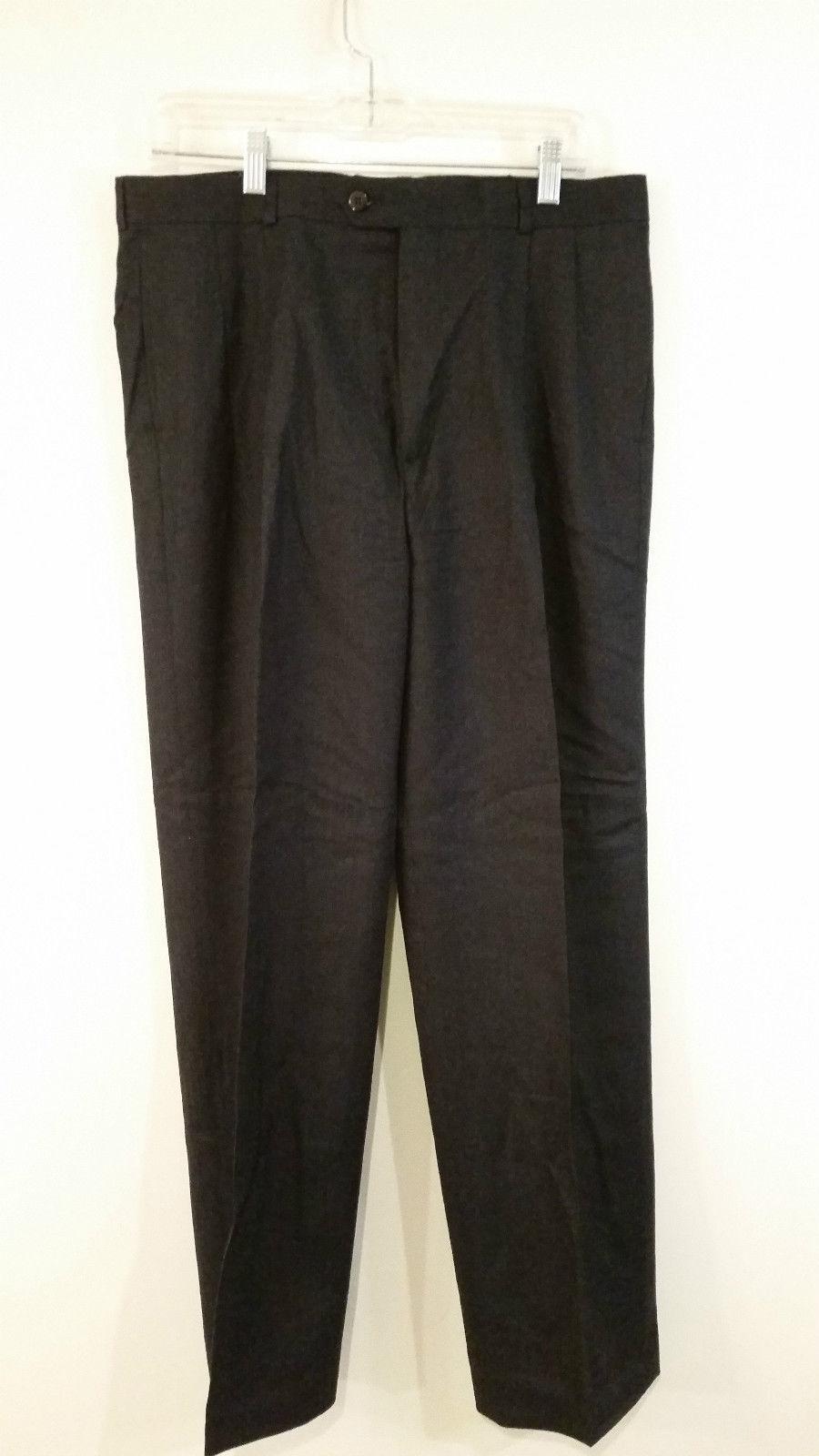 Dark Blue Pleated Front 100 Percent Wool Dress Pants No Tag Measurements Below