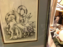 Children's book illustrator Wendy Lewis pen and ink mythical creature in fight image 2