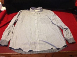 Chico's Size 2 Long Sleeve blouse with stripes in blue white accents image 8
