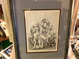 Children's book illustrator Wendy Lewis pen and ink mythical creature in fight image 3