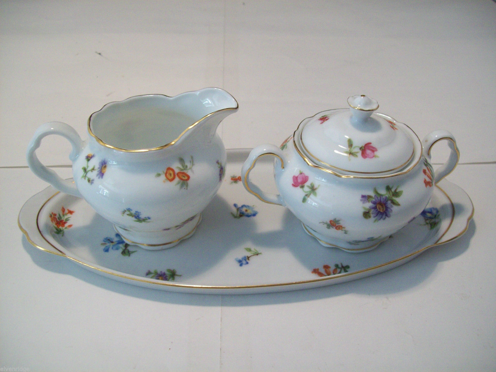 Czechoslovaki Victoria Cream and Sugar set with Tray Dainty