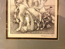 Children's book illustrator Wendy Lewis pen and ink mythical creature in fight image 6