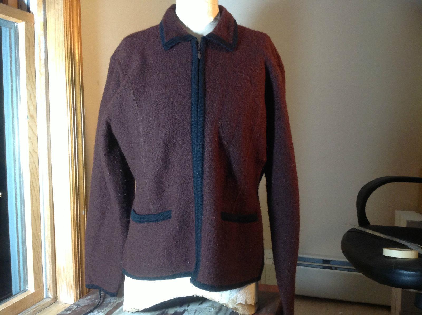 D.B.Ohara Brown Wool Zip Up Jacket Front Pockets at Bottom Black Trim Size Large