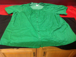 D & Co. Ladies Size 3X Short Sleeve Blouse Green with White Polka Dots