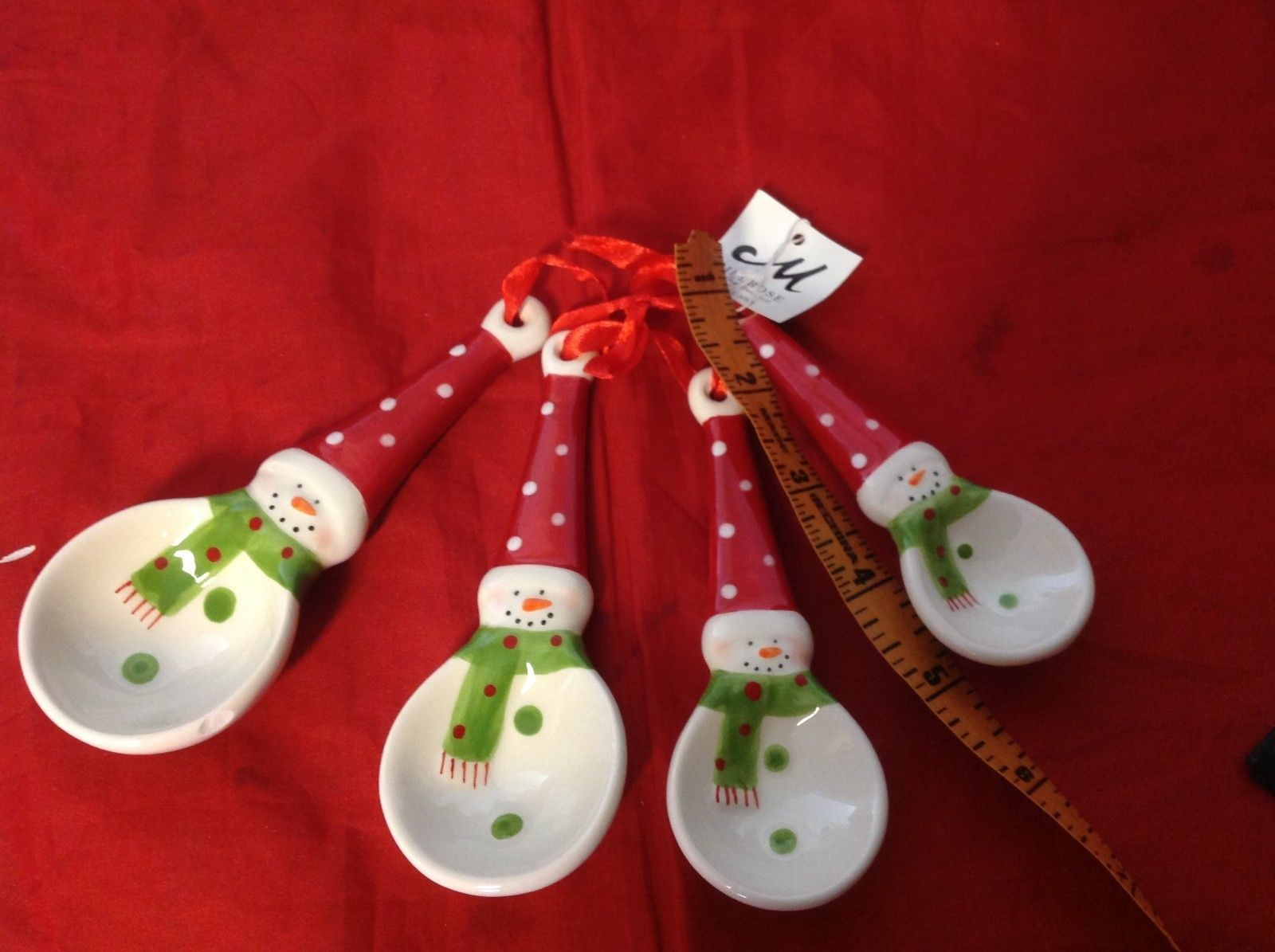 Cute ceramic decorative Snowman  measuring spoon set
