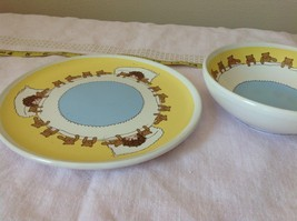 Child Dish and Bowl Set Yellow White and Blue With Teddy Bears and Child image 3