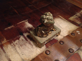 Chinese Guardian Foo Dog Statuette Brass Tarnished Antique Incense Holder image 3