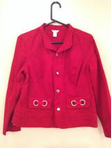 Christopher and Banks Red Long Sleeve Jacket Blazer Front Pockets Size Large image 3