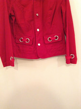 Christopher and Banks Red Long Sleeve Jacket Blazer Front Pockets Size Large image 8