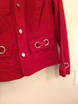 Christopher and Banks Red Long Sleeve Jacket Blazer Front Pockets Size Large image 7