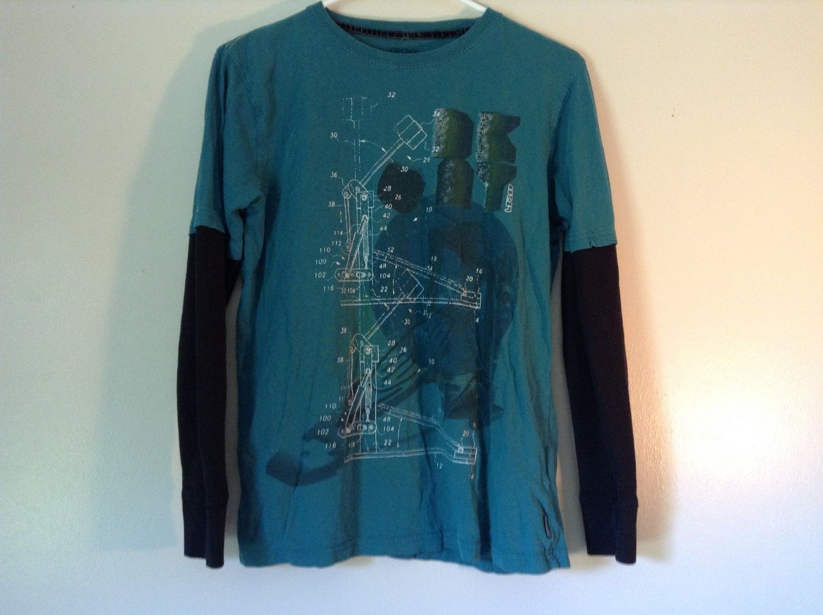 DKNY Turquoise Graphic T Shirt with Black Long Sleeves Design on Front Size L