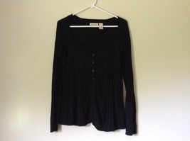 DKNY Jeans Black Size Medium Long Sleeve Button Up Shirt Pretty Design