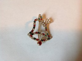 Christmas Bell with Bow Holiday Pin Brooch Red Green White Crystals Gold Tone image 4
