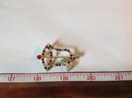 Christmas Bell with Bow Holiday Pin Brooch Red Green White Crystals Gold Tone image 6