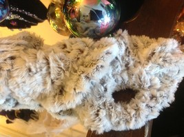Choice of colors white gray marble faux fur twistie scarf with easy fasten loop image 2