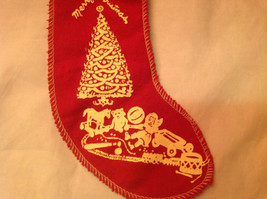 Christmas Ornament Red Stocking with Toys Christmas Tree Bells Felt Stocking image 2