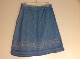 Christopher & Banks Jean Flower Embellished Mid Length Skirt Size 6 image 5