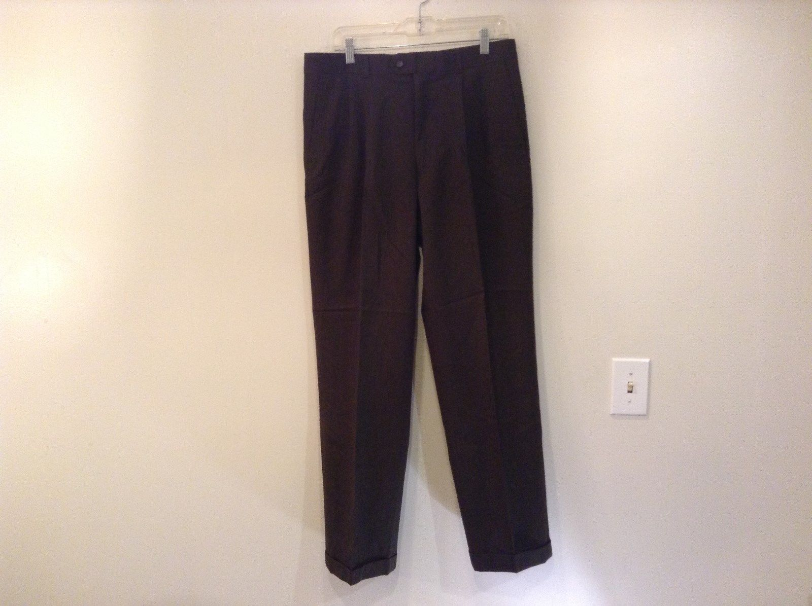 Dark Green 100 Percent Wool Pleated Front Dress Pants Louis Raphael Size 34