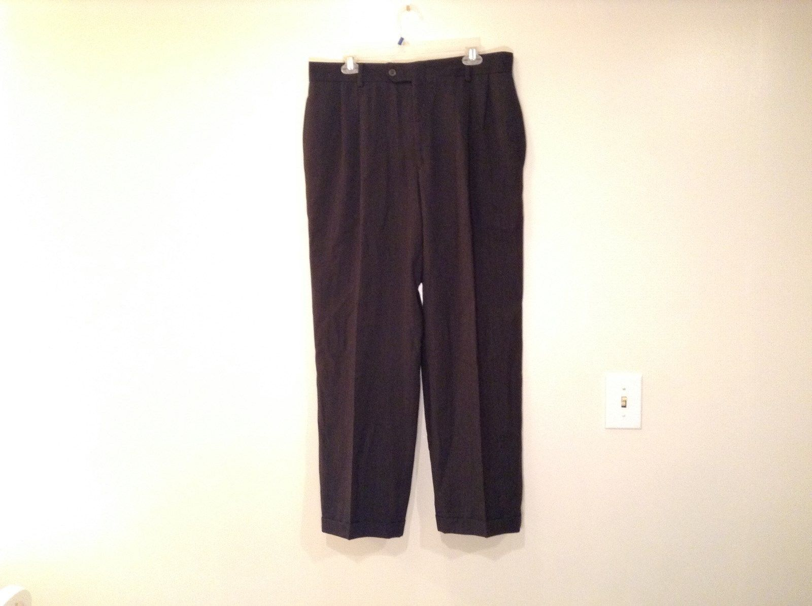 Dark Gray Pleated Front Dress Pants Cuffed Bottoms Measurements Below
