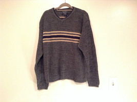 Dark Gray Sweater with Stripes American Eagle Outfitters Woven Size Large