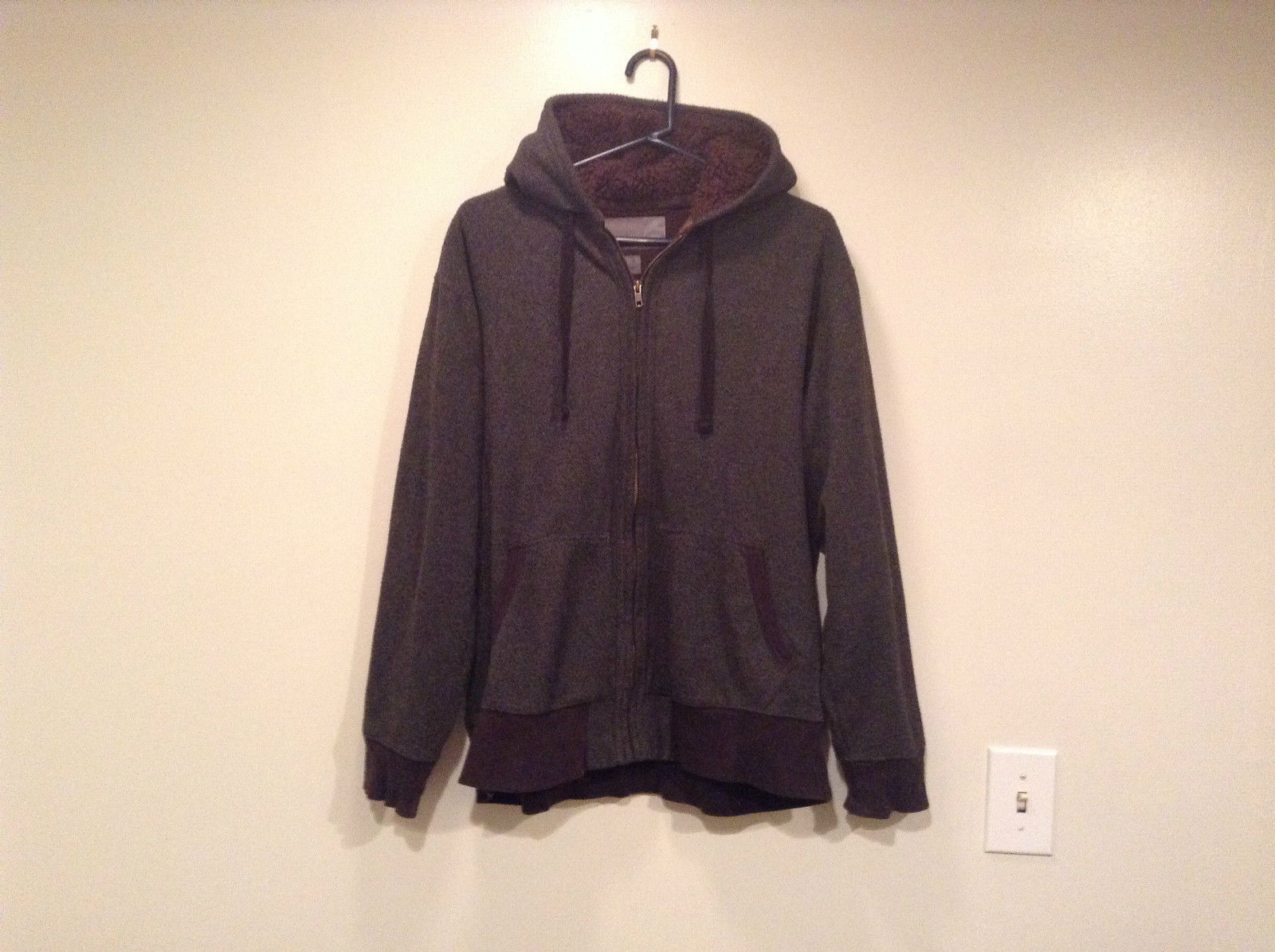 Dark Gray Old Navy Size XL Hooded Sweatshirt Jacket Brown Faux Fur Lining Hood