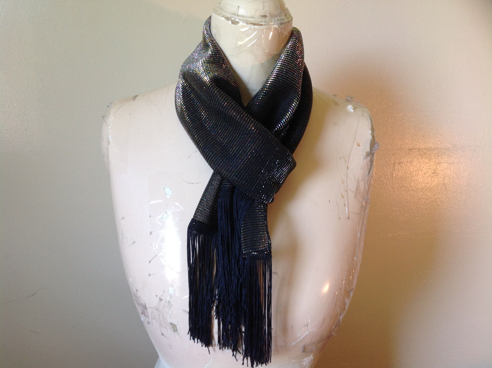 Dark Gray Rainbow Metallic Shine Tasseled Fashion Scarf Lightweight Material
