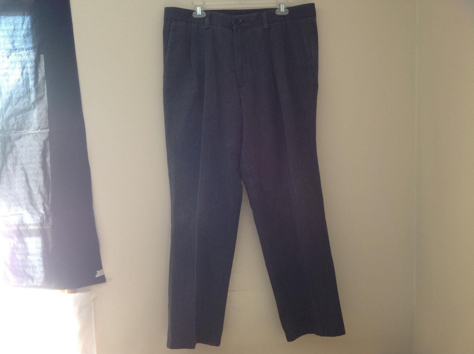 Dark Gray Pleated 4 Pocket Casual Pants Button Zipper Closure Dockers Size 38