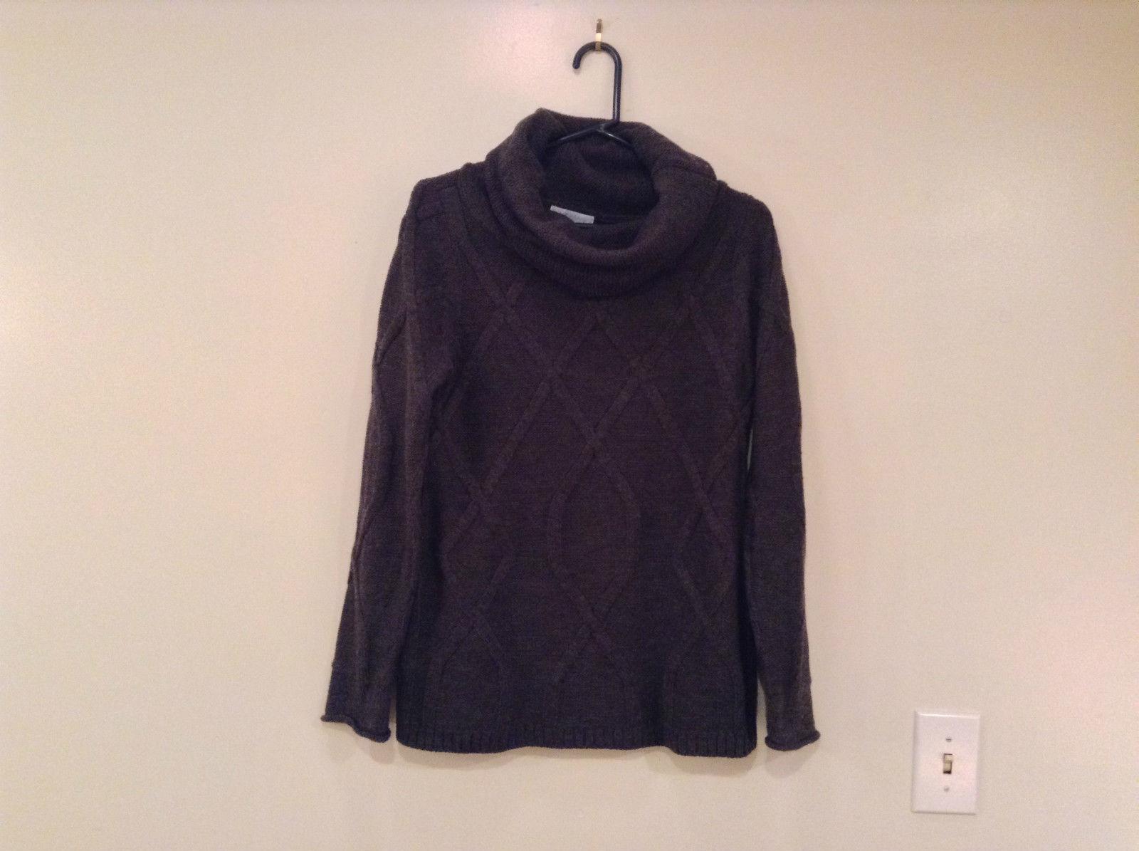 Dark Gray Knitted Liz Wear Turtleneck Sweater Size Medium Long Sleeves