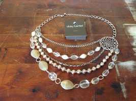 Daisy Fuentes Multi Strand Silver Tone Stones Beads Necklace Adjustable