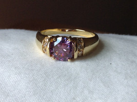Circular Purple CZ with White CZ Accents Gold Plated Ring Size 10 image 9
