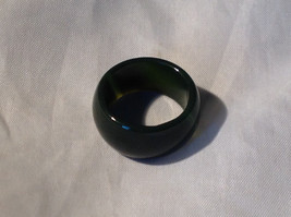 Dark Green Agate Natural Wide Band Ring Size 6.75, 7, 7.25, 7.75 image 1