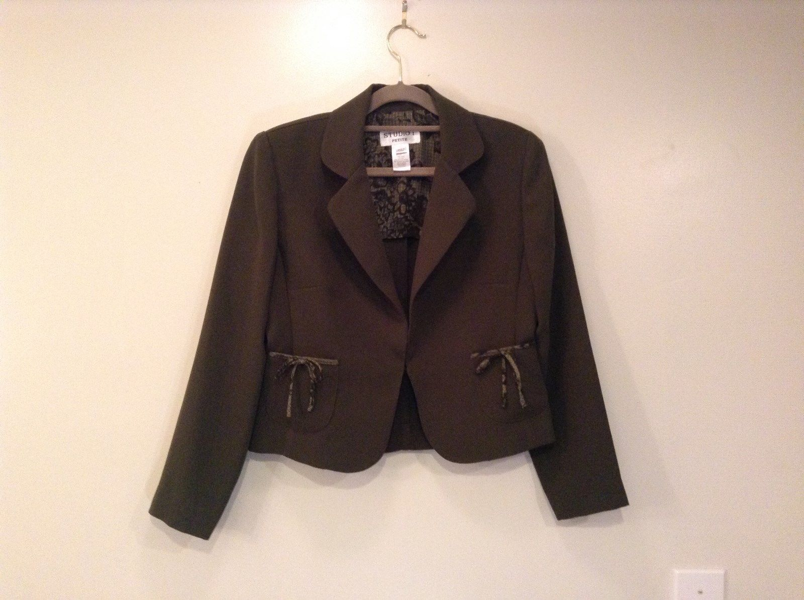 Dark Olive Green Light Jacket Studio I Hook and Eye Closure Unlined Size 6P
