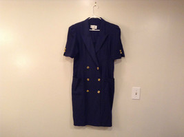 Danny and Nicole Navy Blue Short Sleeve Dress Pockets Buttons on Front Size 16