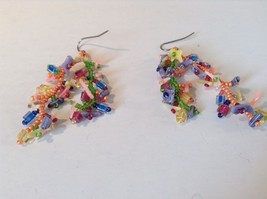 Dangling Multicolored Earrings Unique Stones Handmade