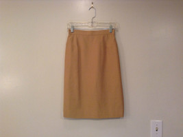 Dana Buchman 100 Percent Silk Sand Brown Skirt Size 6 Back Zipper Back Slit