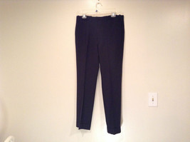 Dark Blue Black Dress Pants No Tags High Quality Fabric Measurements Below image 1